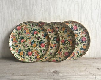 "Highmount Paper Mache Trays Set Of Four 7"" Diameter Alcohol Proof Floral"