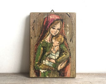 Mid Century Madonna And Child Wood Plaque Painting Made In Italy