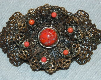 Vintage / Antique / C Clasp / Brooch / Coral / Filigree / Gold / old / jewelry / jewellery