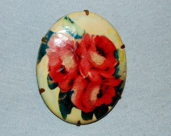 Large Brooch, Bouquet Roses Celluloid, C Clasp Flowers, vintage jewelry