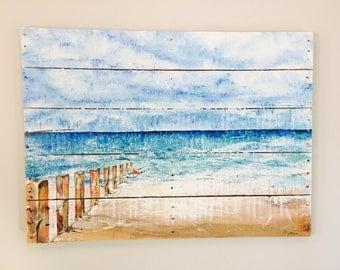 Beach Painting - Beachy - Beach Art - Beach Decor - Wall Art - Ocean - Painting - Surf - Coastal - Tide - Reclaimed Wood - Large Beach Art