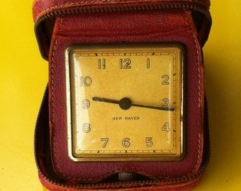Vintage Travel Alarm Clock by New Haven in Red Leather Case