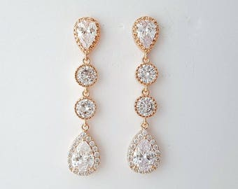 Rose Gold Bridal Earrings, Wedding Jewelry, Cubic Zirconia Teardrop Earrings, Gold, Crystal Wedding Earrings, Bridal Jewelry, Emma