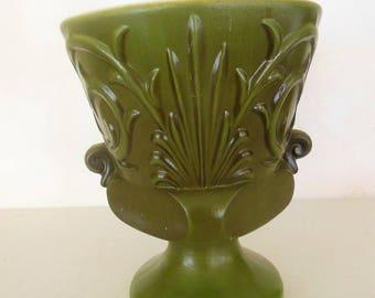 70s Avacado Green Pedestal  Flower Pot, Planter, Haeger Embossed Design
