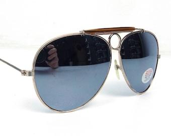 vintage 80's deadstock aviator sunglasses gold metal frames mirror lenses sun glasses eyewear oversized men women retro brown browline 140