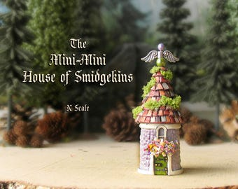The Mini Mini Houses of Smidgekins - Enchanted N Scale Round House with Flower Box, Mossy Tile Roof and Winged Finial - Terrarium Home Decor