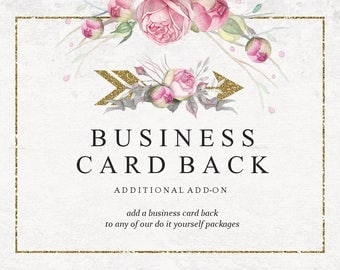 Add A Back To My DIY Business Card | Business Set | Business Branding | Business Package | Premade DIY