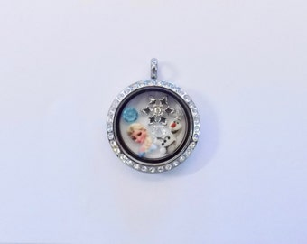 Disney's Frozen Elsa Snow Queen Origami Inspired 25mm Locket with Charms