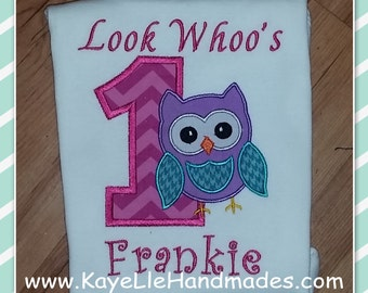 Embroidered Shirt - Birthday Shirt - Custom - Look Whoo's Owl