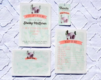 Printable Custom Bear Baby Shower Collection - Invitation, Wishes for Baby, Favor Tags, Thank You Note