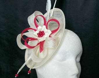 Cream Ivory & Cerise Fuchsia Pink Pandora Saucer Sinamay Loop Feather Pearl Fascinator Headpiece Wedding Derby Ascot- Made to Order