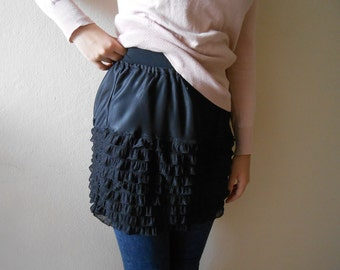 Black Top Extender, Ruffle Shirt Extender, Layered Slip skirt, Half Slip Extender, Layered Ruffles Skirt