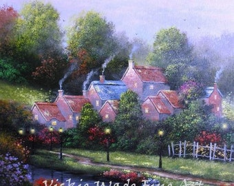 Creekside Village ORIGINAL Oil Painting 12X24, cottages, lake, river, country village, landscape, vertical wall art, Vickie Wade Art