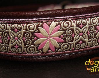 "Dog Collar ""Pinwheel Zinnia"" by dogs-art, martingale collar, brown leather collar, pink dog collar, zinnia, slip dog collar, hundehalsband"