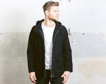 Vintage 90s Wool Zip Up Jacket . Mens Navy Blue Hooded Coat Retro Parka Jacket Outerwear . size Medium