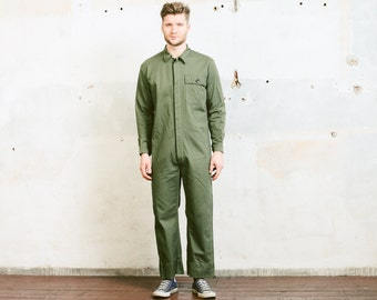 Vintage Men's Work Jumpsuit . Overalls Forest Green Sanfor Military 1980s Garage Car Mechanic COVERALLS 80s Full Cover Jumpsuit . sz Medium