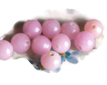 Shabby chic beads,Vintage Glass Beads,Pink beads, Smooth Pink beads, Cottage chic beads, Pastel pink beads,8mm beads, summer beads  #583