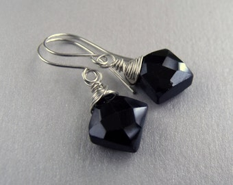 Black Spinel Faceted Square Wire Wrapped Sterling Silver Dangle Earrings Black Spinel Earrings