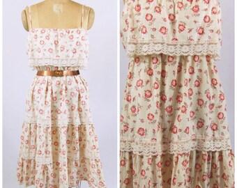 1970s Cotton Rose Dress - Rose Print Cotton Dress - Boho Cotton Dress // Hippie Dress Empire Waist Ruffled Spaghetti Strap Sun Dress