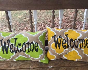 WELCOME quatrefoil design Burlap Pillow  Bench Porch Decor Choose your Color