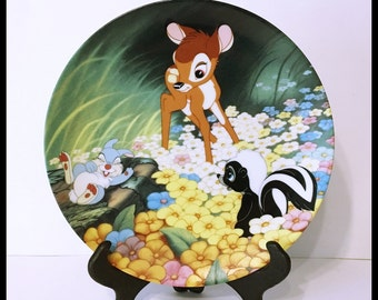 "Disney Bambi Plate, ""Bambi's New Friends"", Flower, Thumper, Knowles, The Bradford Exchange, Hanger included, Vintage 1991"