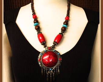 Tribal Style Red Necklace, Blue, Dangle Pendant, Foil. Wooden Beads, Bold, Statement, 24 inches, Vintage 1980's