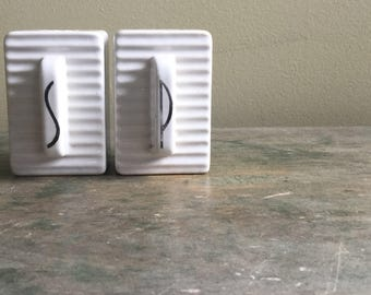 Vintage Art Deco White Ceramic Salt and Pepper Shakers