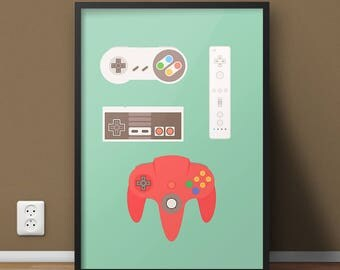 Video Game Art, Retro Controllers Poster, Gamer Birthday Art Print, Nintendo 64 Gift, Game Room Decor, Super NES Wii Controller History