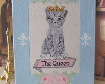 Kitten Cat Art, Hand Painted Pink Roses, Cat wearing Crown Tiara The Queen, Gift for Cat Lover, French Painting, Feline Artwork