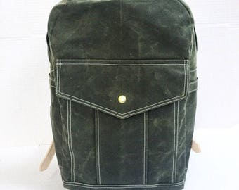 Backpack Waxed canvas & leather