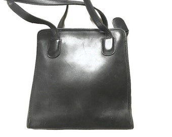 Vintage Black Leather handbag, Thick Leather , large leather Tote Bag