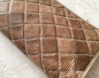 Palizzio Snakeskin Clutch Purse / Reptile Bag