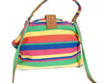 Vintage Striped handbag, Doctors bag, Leather Trim , Nautical , Boho Chic