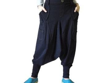 Men Women Funky Ninja Harem Black Cotton Jersey Drop Crotch Pants With 6 Pockets