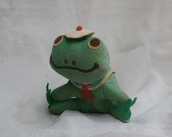 Grungy Vintage Dakin Dream Pets Sailor Frog, Green with Hat, Made in Taiwan, Sawdust Stuffed Plush Toy