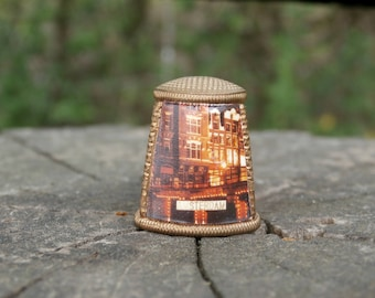 Vintage Amsterdam Souvenir Thimble, Unusual shape, Copper Colored Metal, Collectible