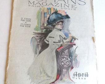 Vintage The Womans Magazine Saint Louis April 1908 Old Magazine Ephemera
