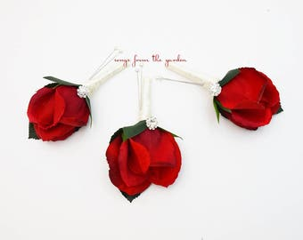 Red Ivory Rose Rhinestone Boutonniere Groom Groomsmen - Customize for Your Wedding Colors - Homecoming Prom Boutonniere