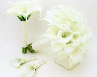 Reserved - Custom Wedding Flower Package - Bouquets Boutonnieres - Calla Lilies Lily of the Valley