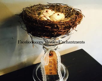 Glass crystal candle stick with Bird nest and spotted eggs