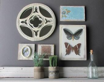 wall art collage -Enchanted Garden - a 5 piece arrangement - farmhouse wall decor -home decor