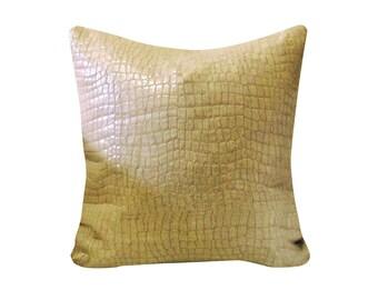 Croc Skin Linen Throw Pillow Cover, Linen Cushions, Crocodile Skin Throw Pillows, Animal Skin Pillows, Modern Home Decor, Exotic Home Decor