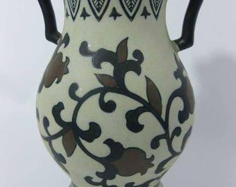 Vintage Black Brown Southwest/Italian Style Handled Pottery Vase Hand Painted