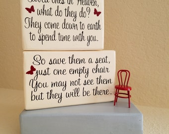 Loved Ones in Heaven What do They do....Wood Block Memorial Display, Shelf or Tabletop Display, Remembrance Gift, Sympathy Gift