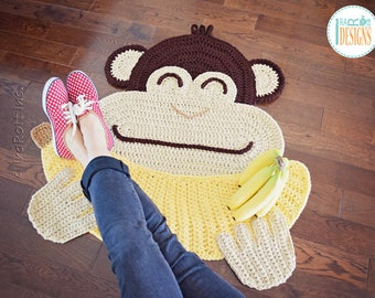 NEW PATTERN Chip the Chimpanzee Banana Monkey Rug PDF Crochet Pattern with Instant Download