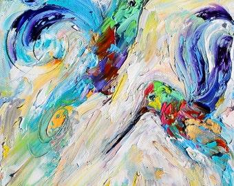 Hummingbird Dance painting original oil abstract impressionism fine art impasto on canvas by Karen Tarlton