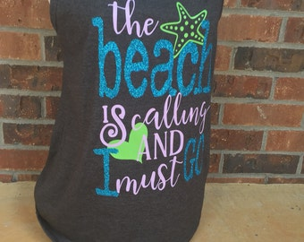 Summer Time Tank, loose fit tankop, The Beach is Calling and I Must Go, great cover up at the beach, girls trip vacation top