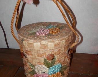 Vintage raffia floral purse basket sewing basket