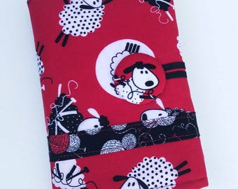 Black and Red Do Ewe Knit Spill Proof DPN Interchangeable Knitting Needle Organizer  Case Roll