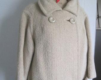 1950s designer coat, 3/4 sleeve, made in England, Mono brand.  With matching gloves.  Llama wool designer coat.
